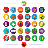 Plumbing, fruit, music and other web icon in flat style. hygiene, medicine, celebration, icons in set collection. Plumbing, fruit, music and other  icon in flat Royalty Free Stock Photos