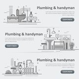 Plumbing and handyman service web header banner set Stock Image
