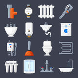 Plumbing and heating set Royalty Free Stock Photo