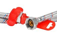 Plumbing hosepipe. Iron plumbing hosepipe, isolated on white background Stock Images