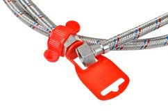 Plumbing hosepipe. Iron plumbing hosepipe, isolated on white background Royalty Free Stock Image