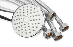 Plumbing hosepipe and showerhead Royalty Free Stock Image