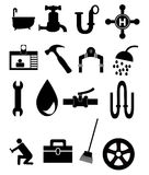Plumbing Icon Set Stock Photography