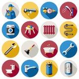 Plumbing Icon Set Stock Photos