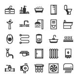 Plumbing icon set. Items for sanitary engineering shop. Sale, service and installation Royalty Free Stock Photography