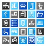 Plumbing icon set. Items for sanitary engineering shop. Sale, service and installation Royalty Free Stock Photo