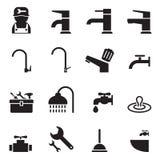 Plumbing icon set Stock Photo