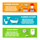 Plumbing icons banner set Royalty Free Stock Photos
