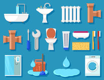 Plumbing icons for bathroom Royalty Free Stock Image