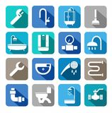 Plumbing, icons, colored background, shadow. Monochrome icons of plumbing and plumbing tools. Vector symbols, white on a colored background with a shadow Stock Photo
