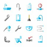 Plumbing, icons, colored, flat. Royalty Free Stock Photos