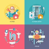 Plumbing icons composition flat Stock Photos