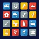 Plumbing Icons Flat Design Stock Image