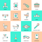 Plumbing Icons Flat Line Set Stock Photos