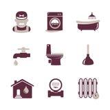 Plumbing icons set Stock Photos