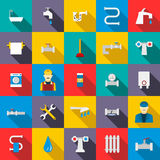 Plumbing icons set, flat style Royalty Free Stock Photography