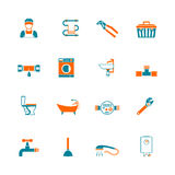 Plumbing icons set Stock Photo
