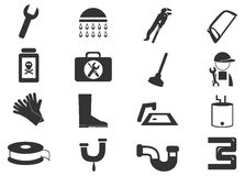 Plumbing icons set Stock Photos