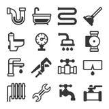 Plumbing Icons Set on White Background. Vector Stock Image