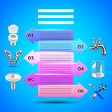 Plumbing infographics with arrows and objects icons vector illustration