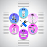 Plumbing infographics with tools and objects in circles vector illustration