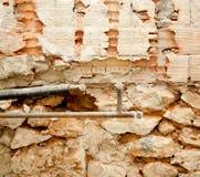 Plumbing installation in kitchen interior construction Stock Photo