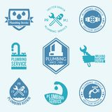 Plumbing labels icons set Stock Image