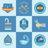 Plumbing labels icons set Stock Images