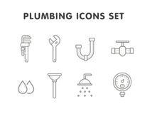 Plumbing line icons set Royalty Free Stock Photo