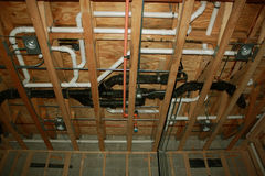 Plumbing-new construction. Plumbing construction-new single family residence home Royalty Free Stock Photos
