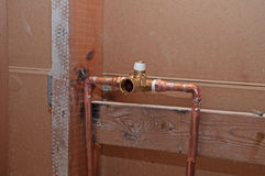 Plumbing - New Copper Pipes for Shower Stock Image