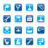 Plumbing Objects And Tools Icons Stock Photo