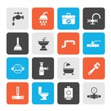 Plumbing objects and tools equipment icons stock illustration