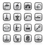 Plumbing objects and tools equipment icons. Vector icon set Royalty Free Stock Image