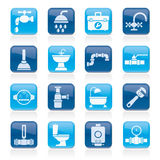 Plumbing objects and tools equipment icons royalty free illustration