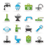 Plumbing objects and tools equipment icons vector illustration
