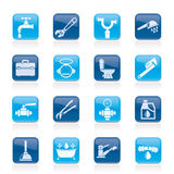 Plumbing objects and tools icons Stock Images