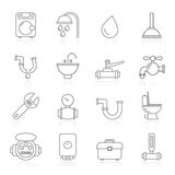 Plumbing objects and tools icons Stock Photography