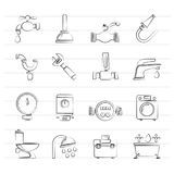 Plumbing objects and tools icons Stock Image