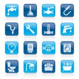 plumbing objects and tools icons Stock Photos