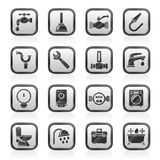 Plumbing objects and tools icons stock illustration