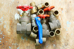Plumbing  water valves parts Stock Images