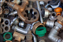 Plumbing parts texture. Background image Royalty Free Stock Photography