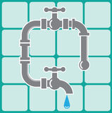 Plumbing pipe icon vector and tiles Stock Images