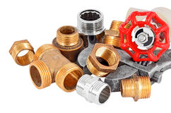 Plumbing pipe, valve and wrench Stock Image