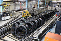 Plumbing pipes factory, industry, manufacture of pipes Royalty Free Stock Images