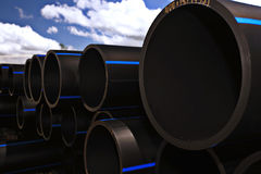 Plumbing pipes, industry, manufacture of pipes Stock Images
