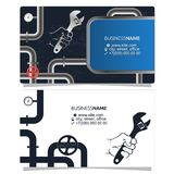 Plumbing and pipes business card concept. Plumbing and piping repairs and maintenance business card concept Stock Images