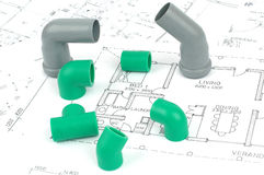 Plumbing plans and plumbing fittings Royalty Free Stock Photos