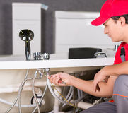 Plumbing. Professional plumber. Plumbing repair service Royalty Free Stock Photography